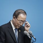 Ban Ki-Moon, secretary general of the United Nations, adjusts his glasses during a news conference on the sidelines of the Group of 20 (G-20) summit in Hangzhou, China, on Sunday, Sept. 4, 2016. The heads of three world economic bodies warned of the risk to trade from the protectionist headwinds sweeping many developed nations as global leaders met in Hangzhou, China. Photographer: Qilai Shen/Bloomberg via Getty Images