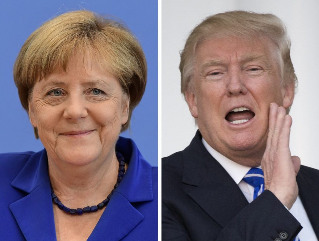 "(COMBO) This combination of file photos created on January 16, 2017 shows US President-elect Donald Trump (R, November 19, 2016 in Bedminster, New Jersey) and German Chancellor Angela Merkel (July 28, 2016 in Berlin). Chancellor Angela Merkel made a ""catastrophic mistake"" in letting migrants flood into Germany, US President-elect Donald Trump said in a newspaper interview on January 15, 2017.  / AFP PHOTO / Don EMMERT AND Tobias SCHWARZ        (Photo credit should read DON EMMERT,TOBIAS SCHWARZ/AFP/Getty Images)"
