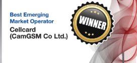 ក្រុមហ៊ុន Cellcard ទទួលបានពានរង្វាន់ Best Emerging Market Operator Awards