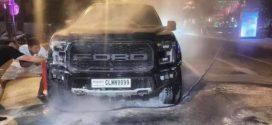 ឆ្លងចរន្តម៉ាសុីនឆេះរថយន្តស៊េរីទំនើបម៉ាក Ford Raptor ពាក់ស្លាកលេខ កម្ពុជា CLMN 9899 មួយគ្រឿងនៅខណ្ឌដូនពេញ